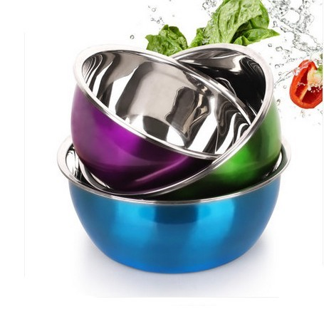 3 Pcs Set Stainless Steel bowl - 22 24 28 cm stainless serbaguna