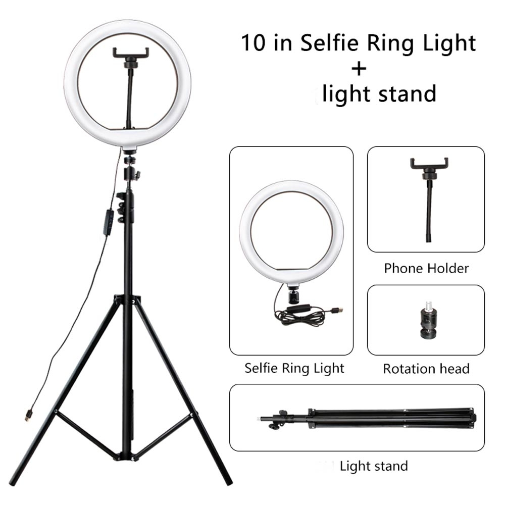 Lampu Tik Tok / Ring Light O lampu make up / youtube 26 cm tripod tinggi 2 meter + holder HP - 3 warna LED